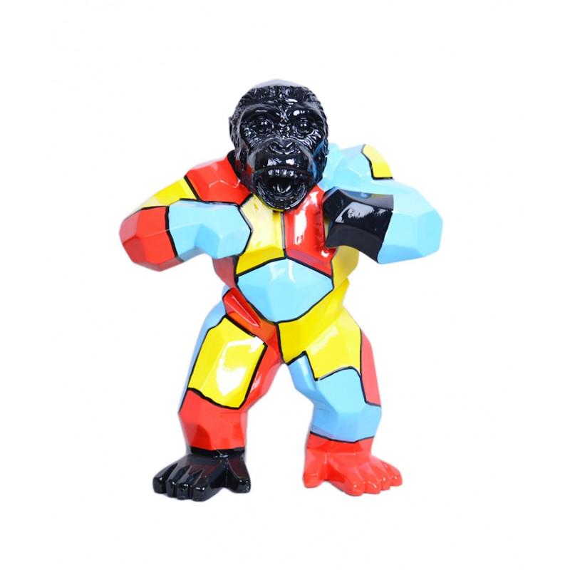 Statue sculpture décorative design GORILLE en résine H40 (multicolore)