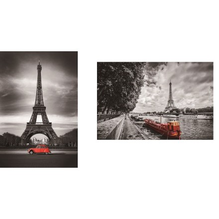 Set of 2 paintings on glass EIFFEL Tower (black, red)