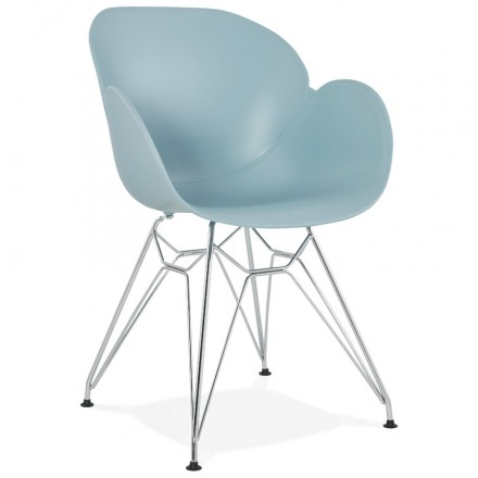 Design chair industrial style TOM foot chromed metal polypropylene (sky blue)