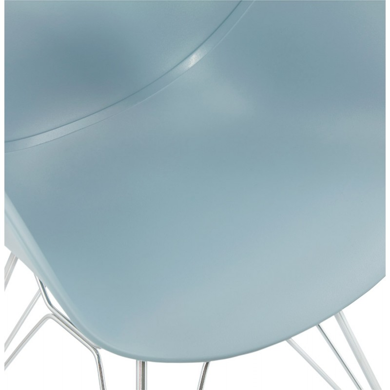 Design chair industrial style TOM foot chromed metal polypropylene (sky blue) - image 36773