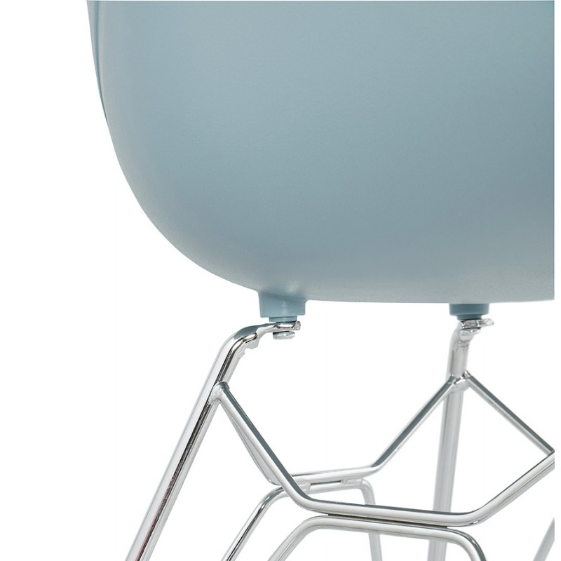 Design chair industrial style TOM foot chromed metal polypropylene (sky blue) - image 36776