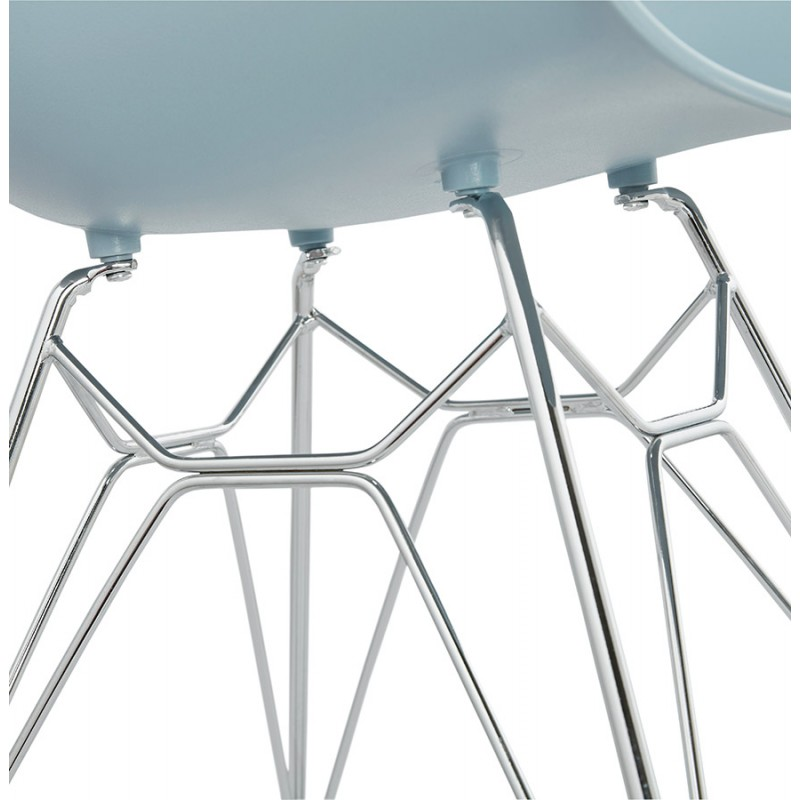 Design chair industrial style TOM foot chromed metal polypropylene (sky blue) - image 36777