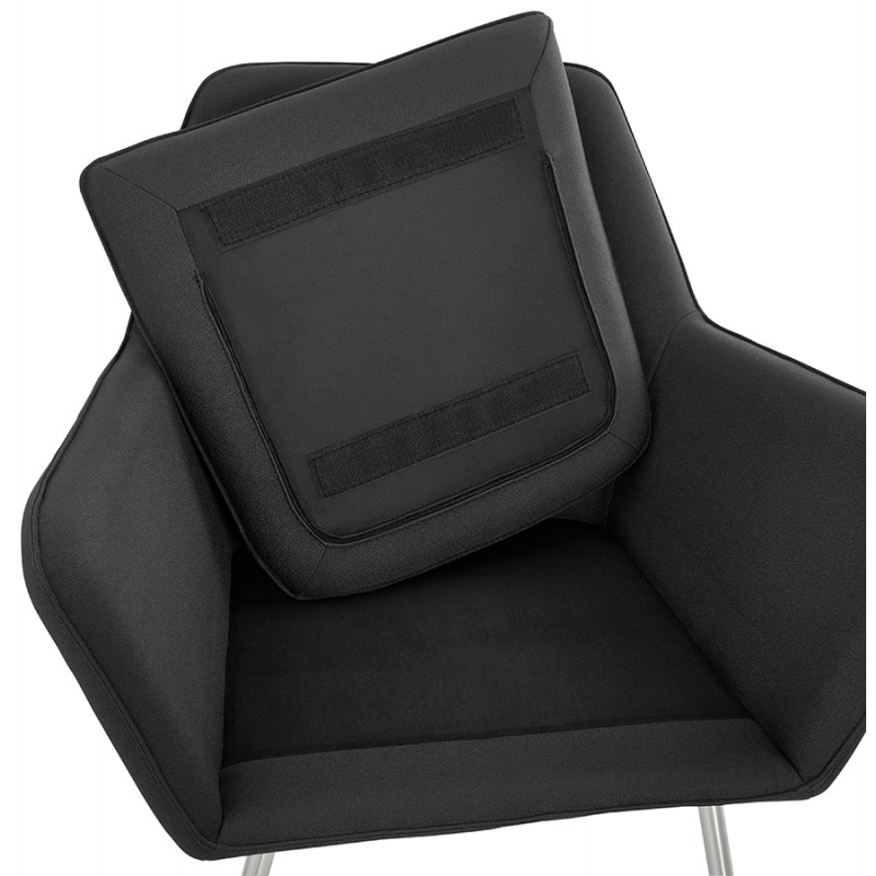 Fauteuil lounge design YORI en tissu gris anthracite