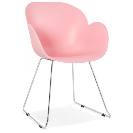 Pie de silla de diseño cónica de polipropileno de ADELE (polvo rosado)
