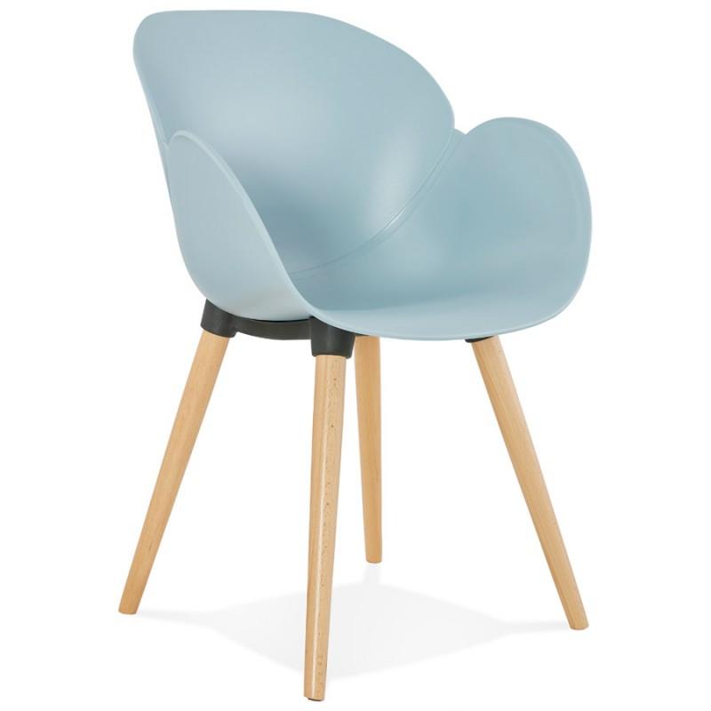 Chaise design style scandinave LENA en polypropylène (bleu ciel)