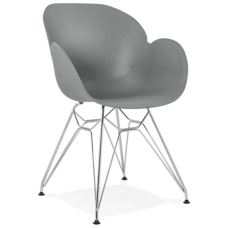 Chaise design style industriel TOM en polypropylène pied métal chromé (gris clair)