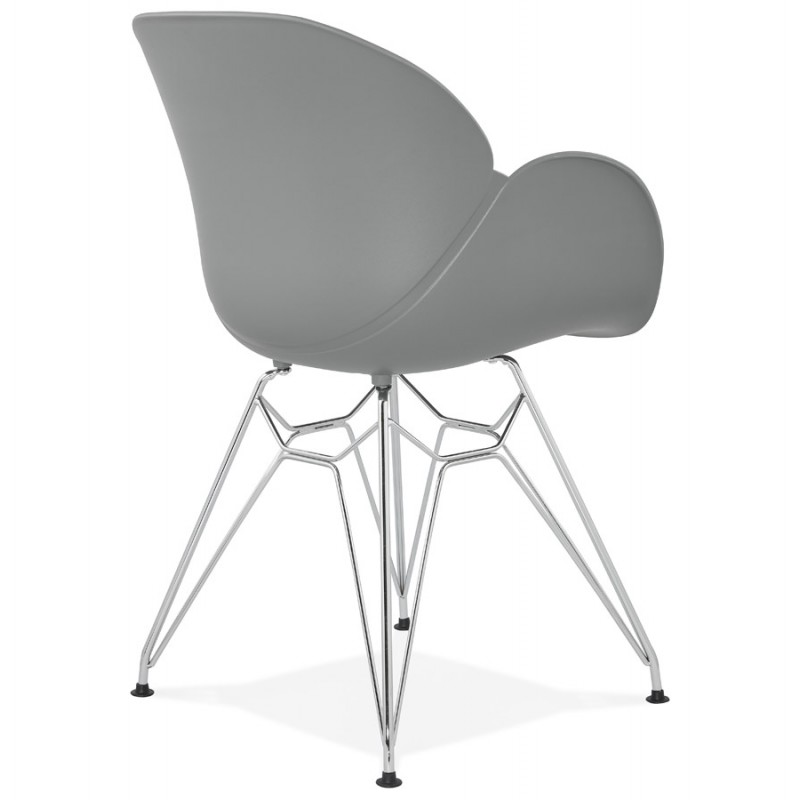 Design chair industrial style TOM polypropylene foot chromed metal (light gray) - image 36962