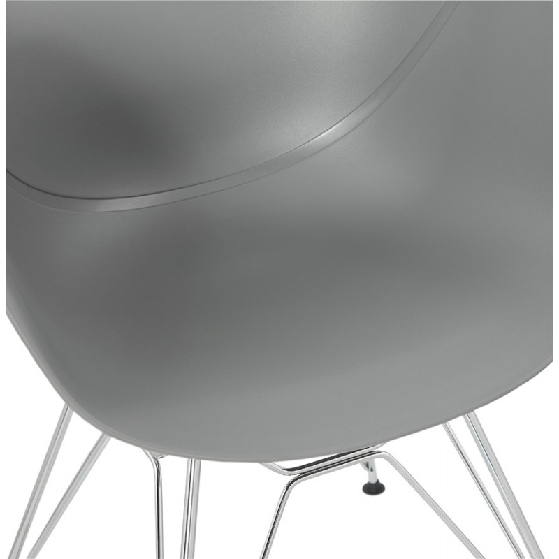 Design chair industrial style TOM polypropylene foot chromed metal (light gray) - image 36964