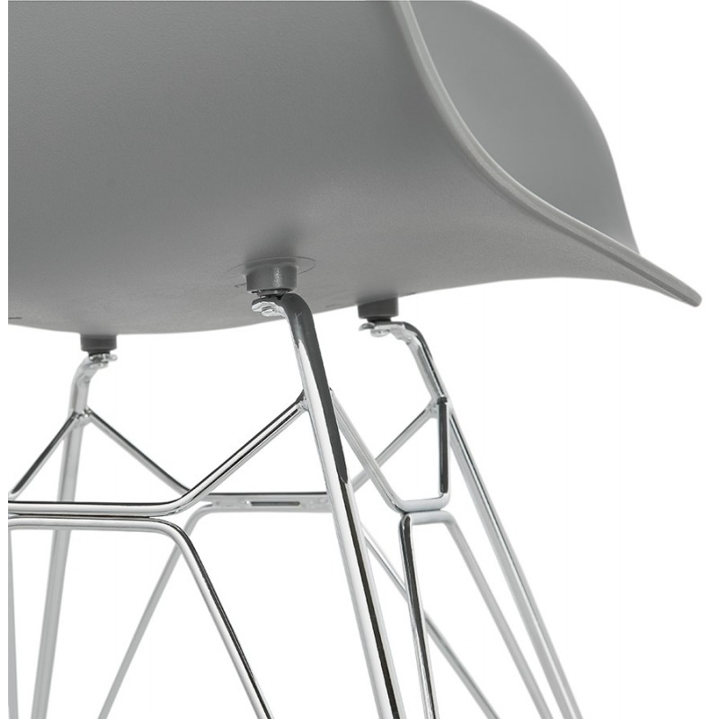 Design chair industrial style TOM polypropylene foot chromed metal (light gray) - image 36967