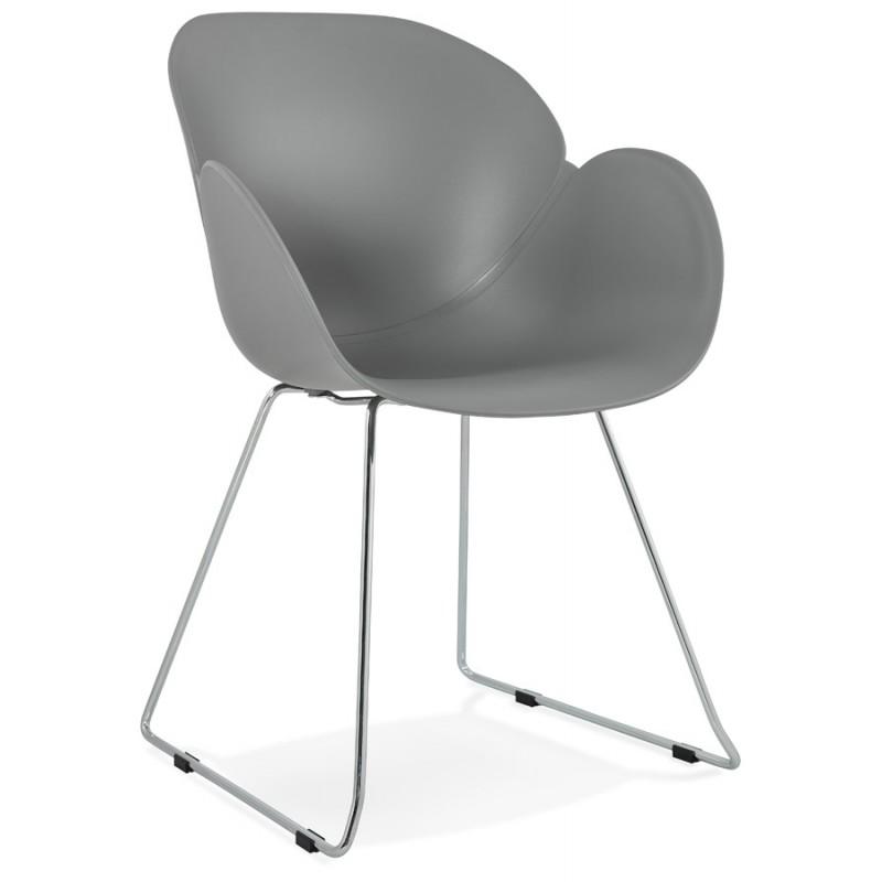 Chaise design pied effilé ADELE en polypropylène (gris clair)