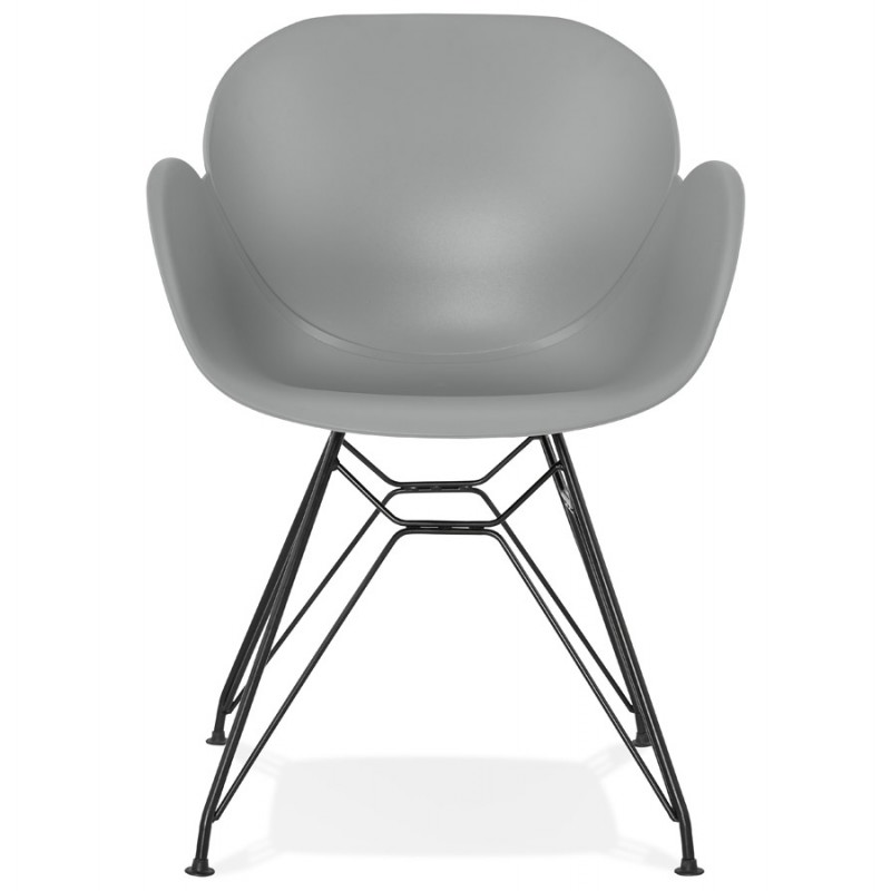 Design chair industrial style TOM polypropylene foot black metal (light gray) - image 37011