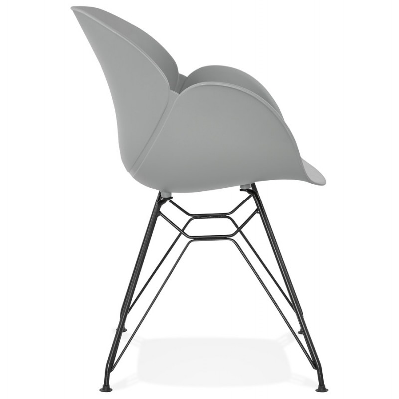 Design chair industrial style TOM polypropylene foot black metal (light gray) - image 37012