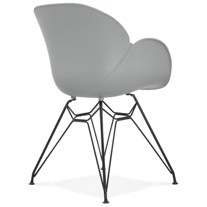 chaise design style industriel tom en polypropyl ne pied m tal noir gris clair. Black Bedroom Furniture Sets. Home Design Ideas