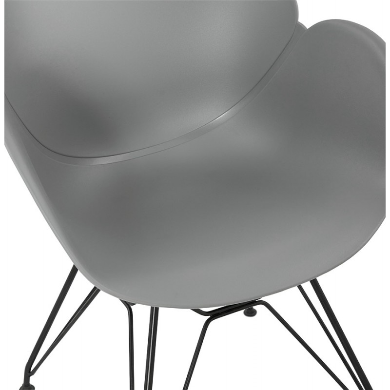 Design chair industrial style TOM polypropylene foot black metal (light gray) - image 37015