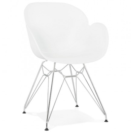Design chair industrial style TOM polypropylene foot chromed metal (white)
