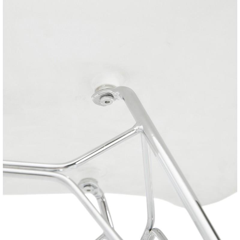 Silla de diseño estilo industrial polipropileno TOM pie de metal cromado (blanco) - image 37032