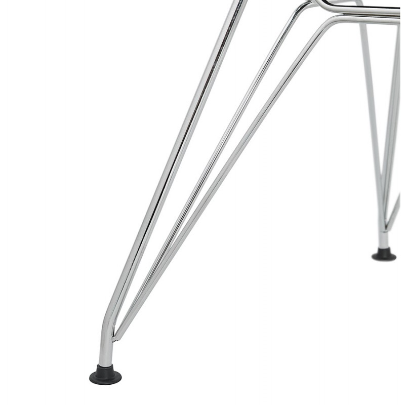 Silla de diseño estilo industrial polipropileno TOM pie de metal cromado (blanco) - image 37034