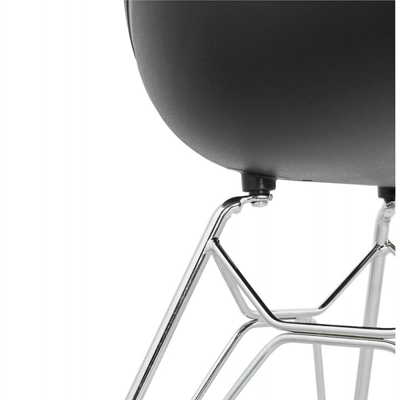 Design chair industrial style TOM polypropylene foot chromed metal (black) - image 37046