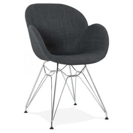 Silla de diseño estilo industrial tela TOM pie de metal cromado (gris oscuro)