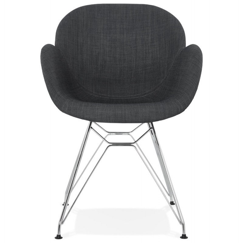 Design chair industrial style TOM fabric foot chromed metal (dark gray) - image 37051