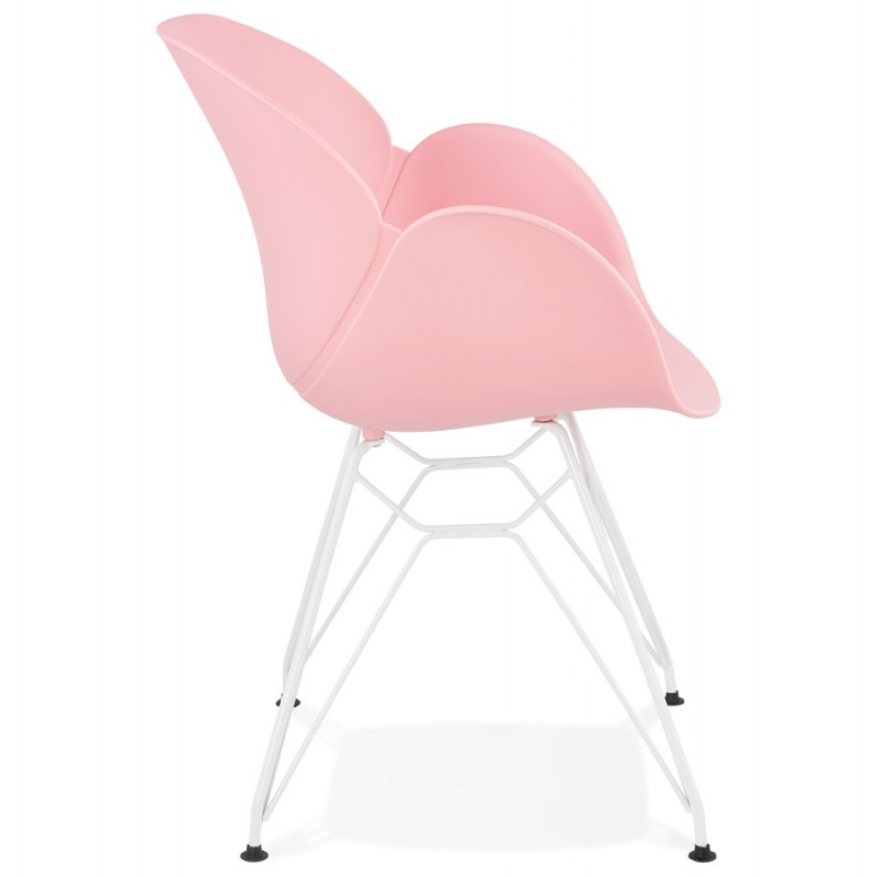 Chaise design et moderne TOM en polypropylène pied métal blanc (rose poudré) - image 37066