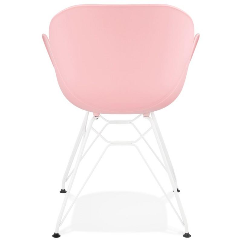 Chaise design et moderne TOM en polypropylène pied métal blanc (rose poudré) - image 37068