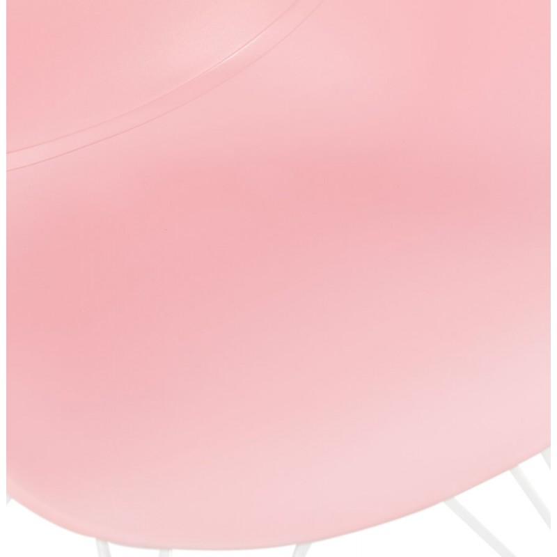 Chaise design et moderne TOM en polypropylène pied métal blanc (rose poudré) - image 37069
