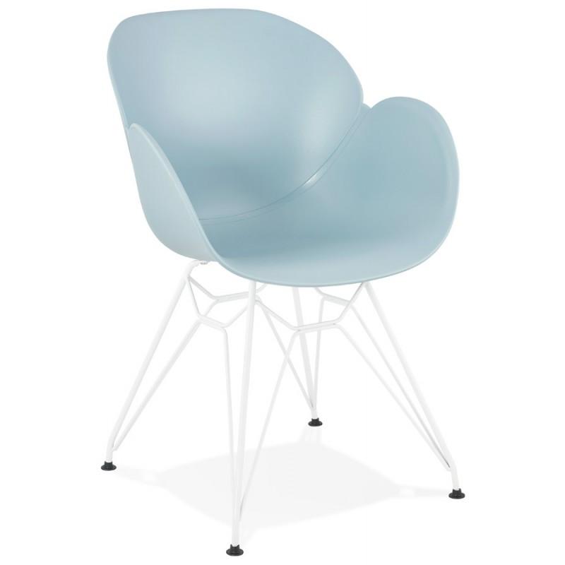 Sedia design e moderno TOM in polipropilene bianco metallo base (celeste) - image 37076