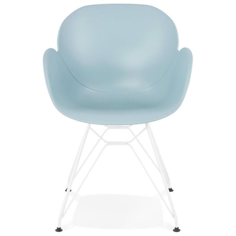 Sedia design e moderno TOM in polipropilene bianco metallo base (celeste) - image 37077