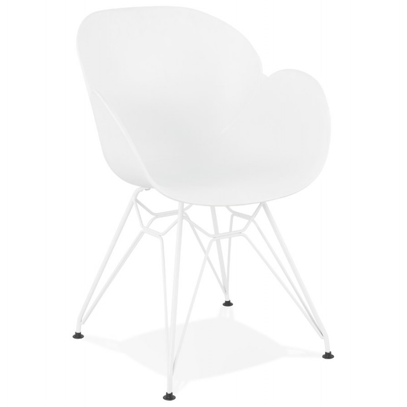 Chaise design et moderne TOM en polypropylène pied métal blanc (blanc)