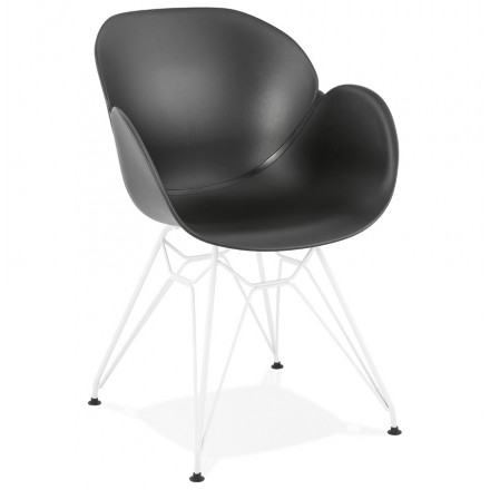 Chair design and modern TOM polypropylene foot (black) white metal