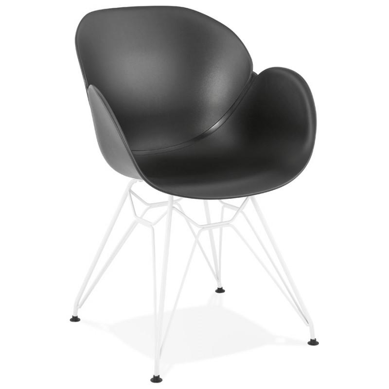 Silla de diseño y moderno TOM polipropileno pie metal blanco (negro) - image 37111