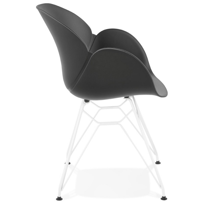 Silla de diseño y moderno TOM polipropileno pie metal blanco (negro) - image 37113