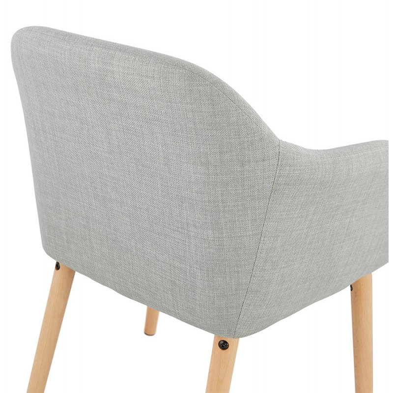 Scandinavian Chair with armrests ANABELLE in fabric (light gray) - image 37162