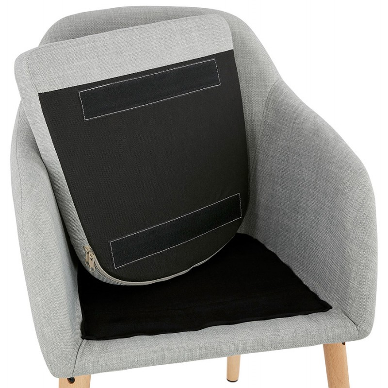 Scandinavian Chair with armrests ANABELLE in fabric (light gray) - image 37163