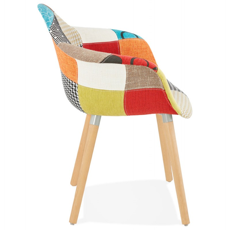 Design chair and Bohemia patchwork with armrests Ophelia in fabric (multicolor) - image 37185