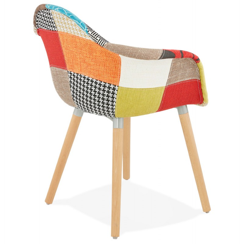 Design chair and Bohemia patchwork with armrests Ophelia in fabric (multicolor) - image 37186
