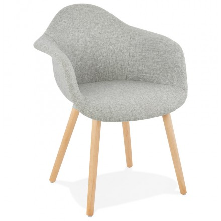 Scandinavian Design Chair With Armrests Ophelia In Fabric Light Gray