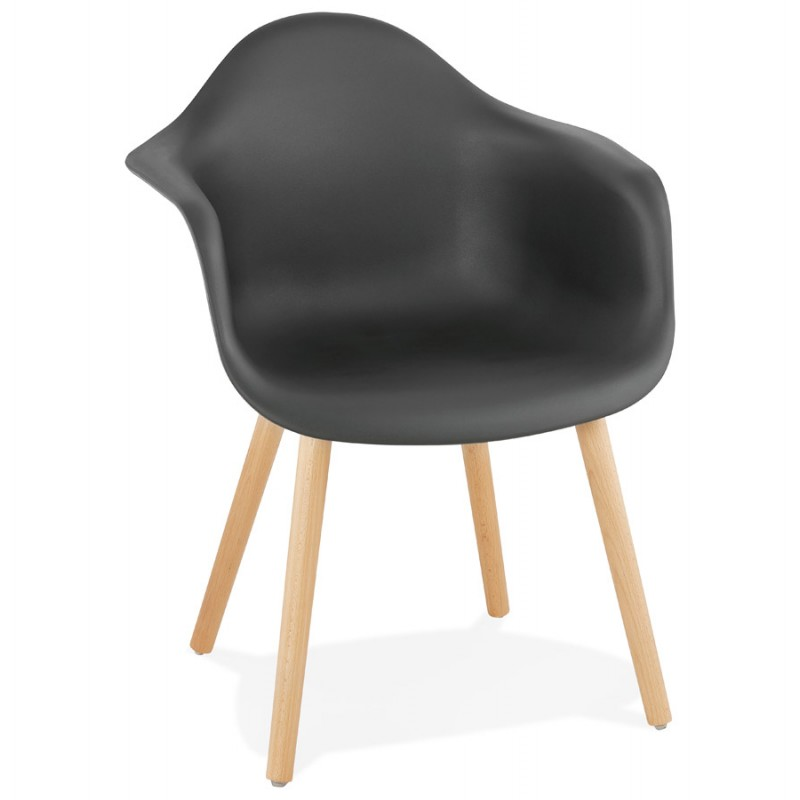 Scandinavian design chair with armrests Ophelia polypropylene (black) - image 37370