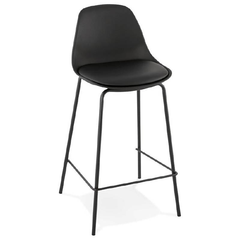 Tabouret de bar chaise de bar mi-hauteur industriel OCEANE MINI (noir)