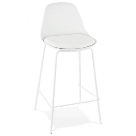 Tabouret de bar chaise de bar mi-hauteur industriel OCEANE MINI (blanc)