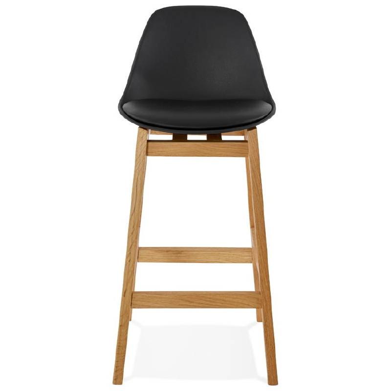 Tabouret de bar chaise de bar mi-hauteur design scandinave FLORENCE MINI (noir) - image 37445