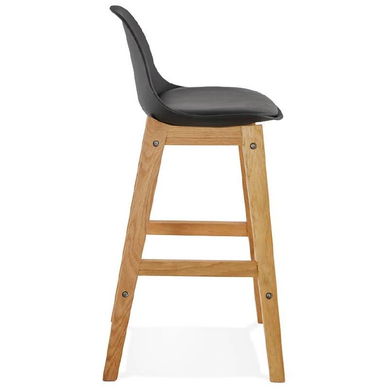Tabouret de bar chaise de bar mi-hauteur design scandinave FLORENCE MINI (noir) - image 37446