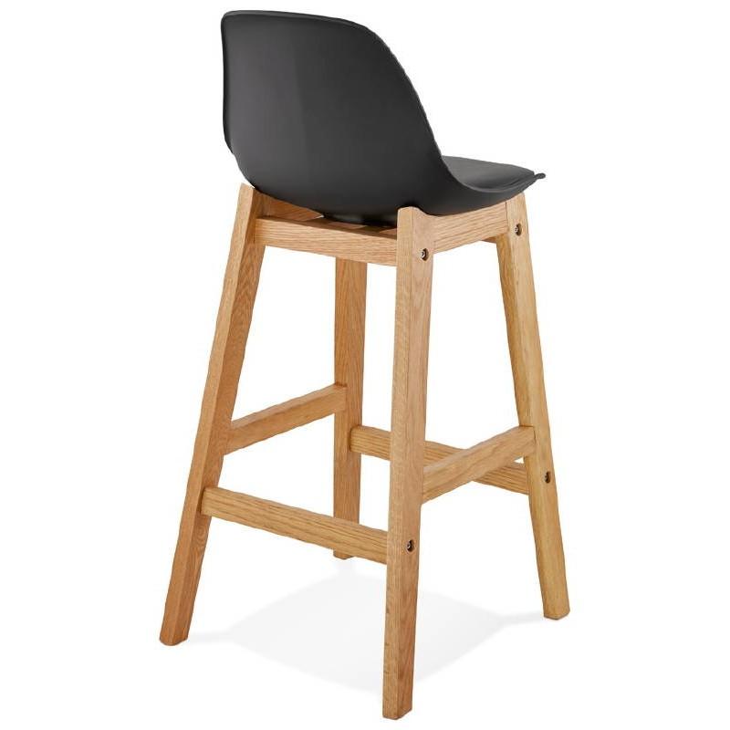 Tabouret de bar chaise de bar mi-hauteur design scandinave FLORENCE MINI (noir) - image 37447