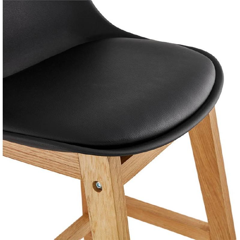 Tabouret de bar chaise de bar mi-hauteur design scandinave FLORENCE MINI (noir) - image 37451