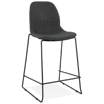 Bar taburete taburete de bar apilable diseño media altura MINI DOLY la tela (gris oscuro)