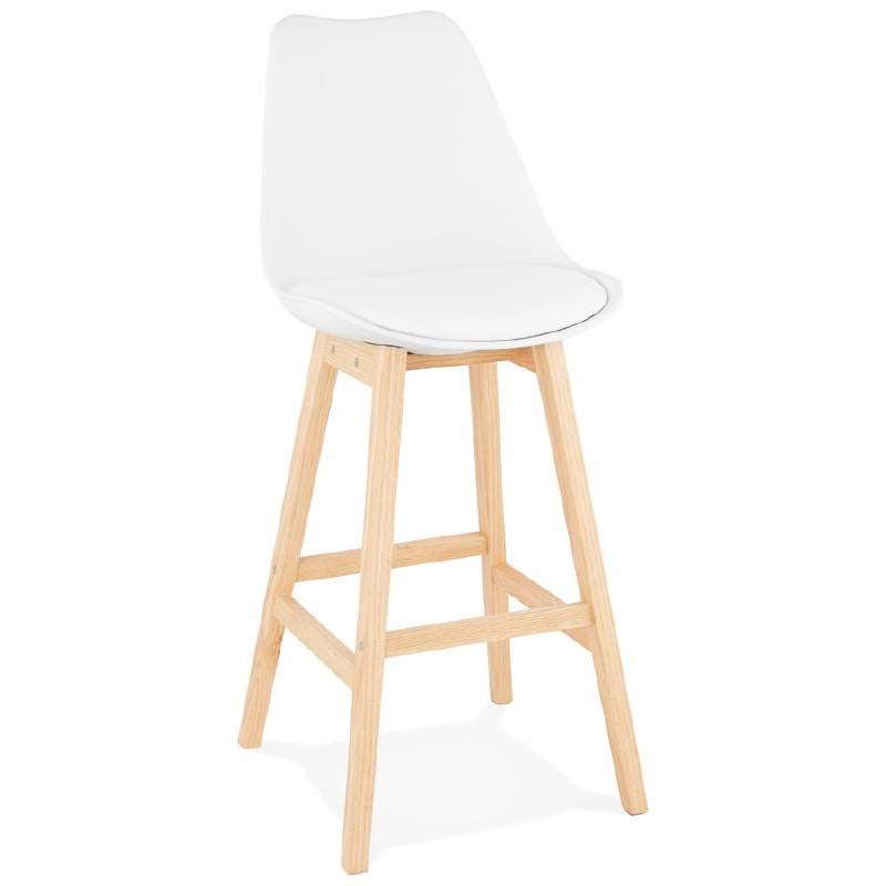 Tabouret de bar chaise de bar design scandinave DYLAN (blanc)