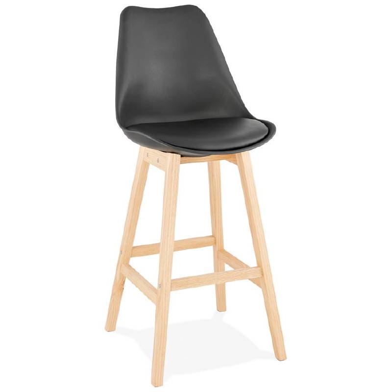 Tabouret de bar chaise de bar design scandinave DYLAN (noir)