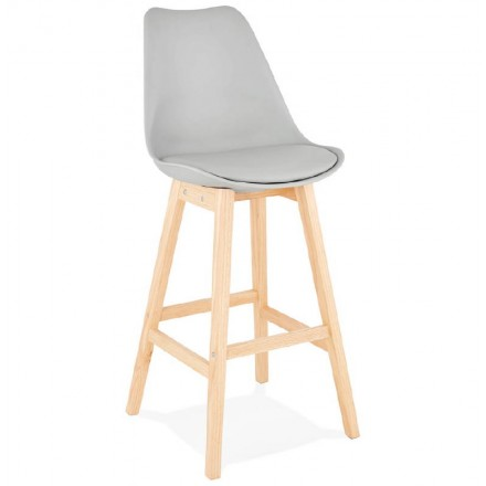 Tabouret de bar chaise de bar design scandinave DYLAN (gris clair)