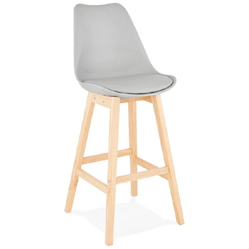 Tabouret De Bar Chaise Design Scandinave DYLAN Gris Clair